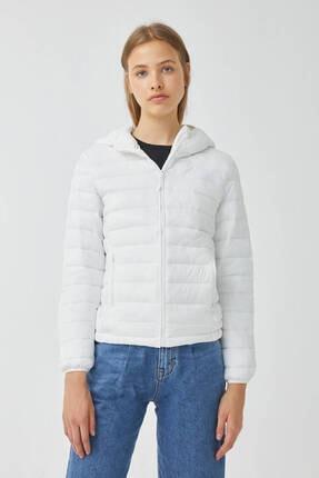 Pull & Bear Kadın Beyaz Basic Şişme Mont
