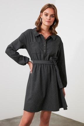 TRENDYOLMİLLA Antrasit Kuşaklı Elbise TWOAW21EL1565