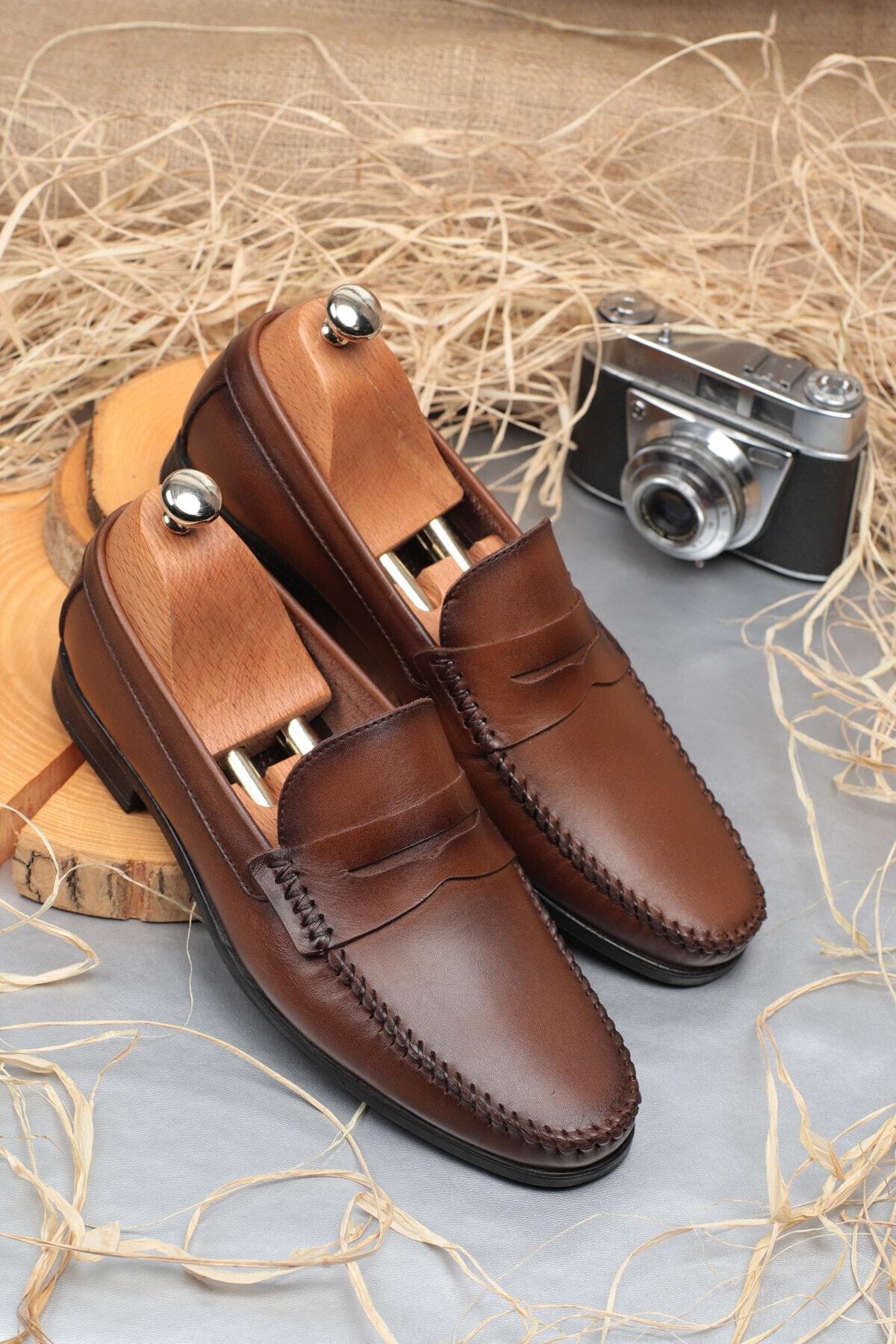 Daxtors Erkek Kahverengi Günlük Klasik Hakiki Deri Ayakkabı 1