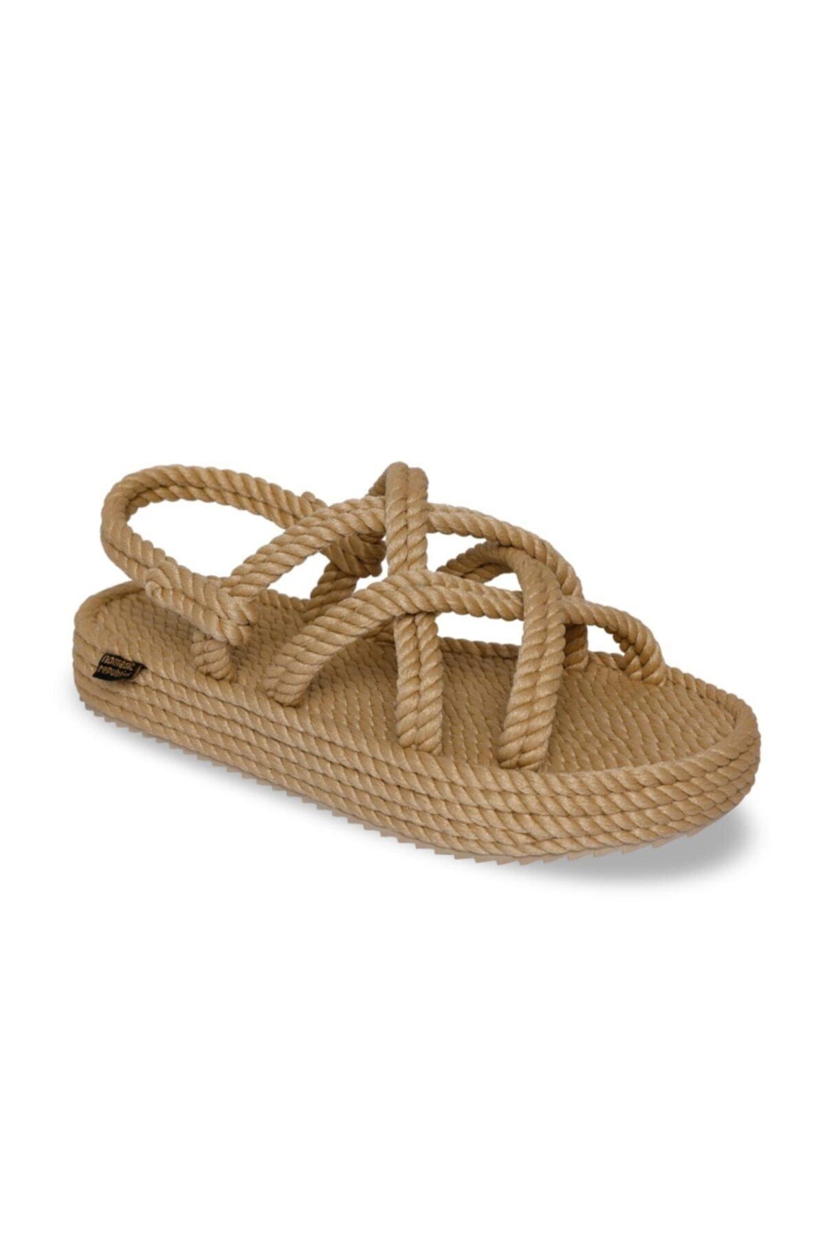 Nomadic Republic Kadın Bej Bodrum Platform Kadın Halat Ip Sandalet 1