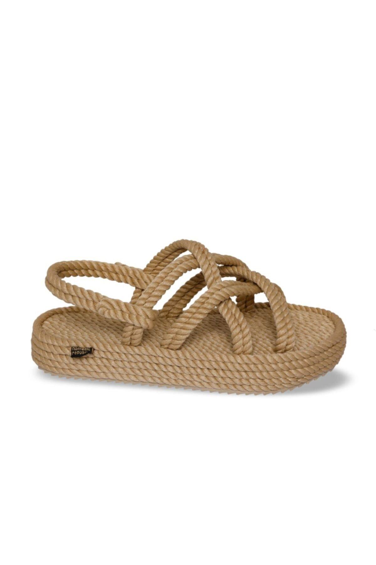 Nomadic Republic Kadın Bej Bodrum Platform Kadın Halat Ip Sandalet 2