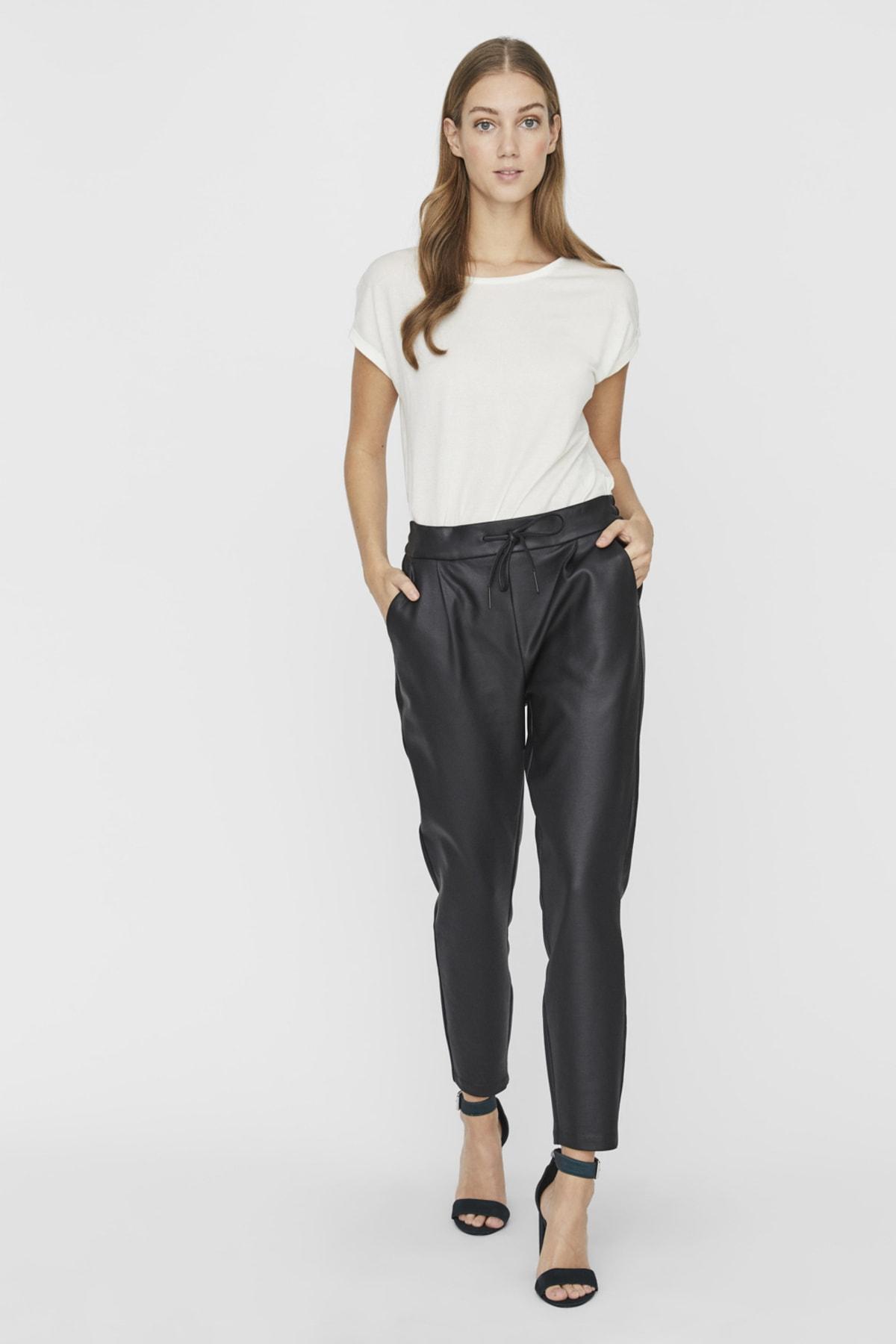 Vero Moda Kadın Siyah Bağlamalı Kaplama Pantolon 10205737 VMEVA 1