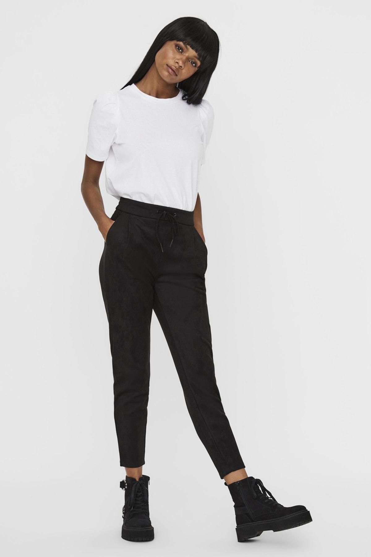 Vero Moda Kadın Siyah Süet İpli Pantolon 10225615 VMEVA 1