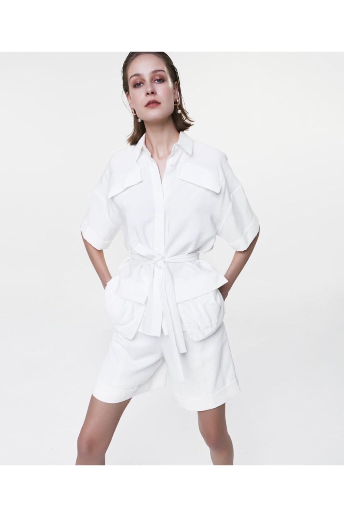 İpekyol Kadın Ekru Cep Detaylı Gömlek 1