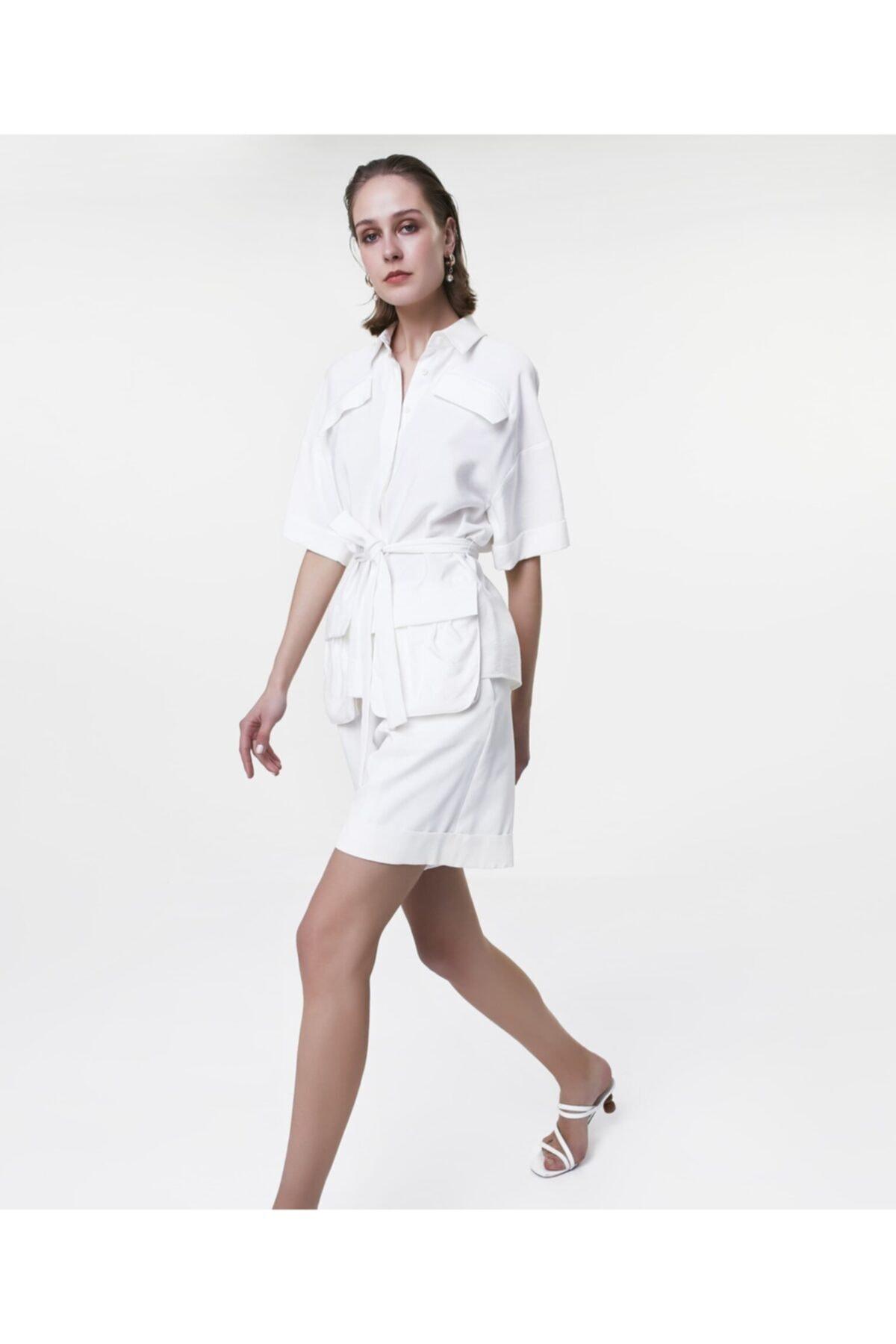 İpekyol Kadın Ekru Cep Detaylı Gömlek 2
