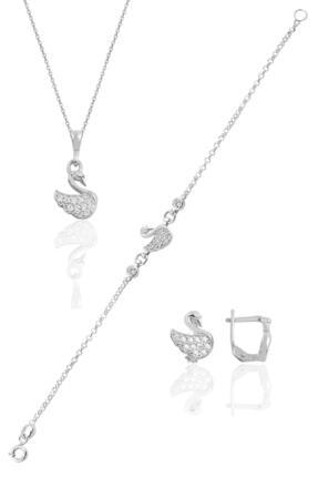 Söğütlü Silver Kadın Gümüş Rodyumlu Taşlı Kuğu Üçlü Set