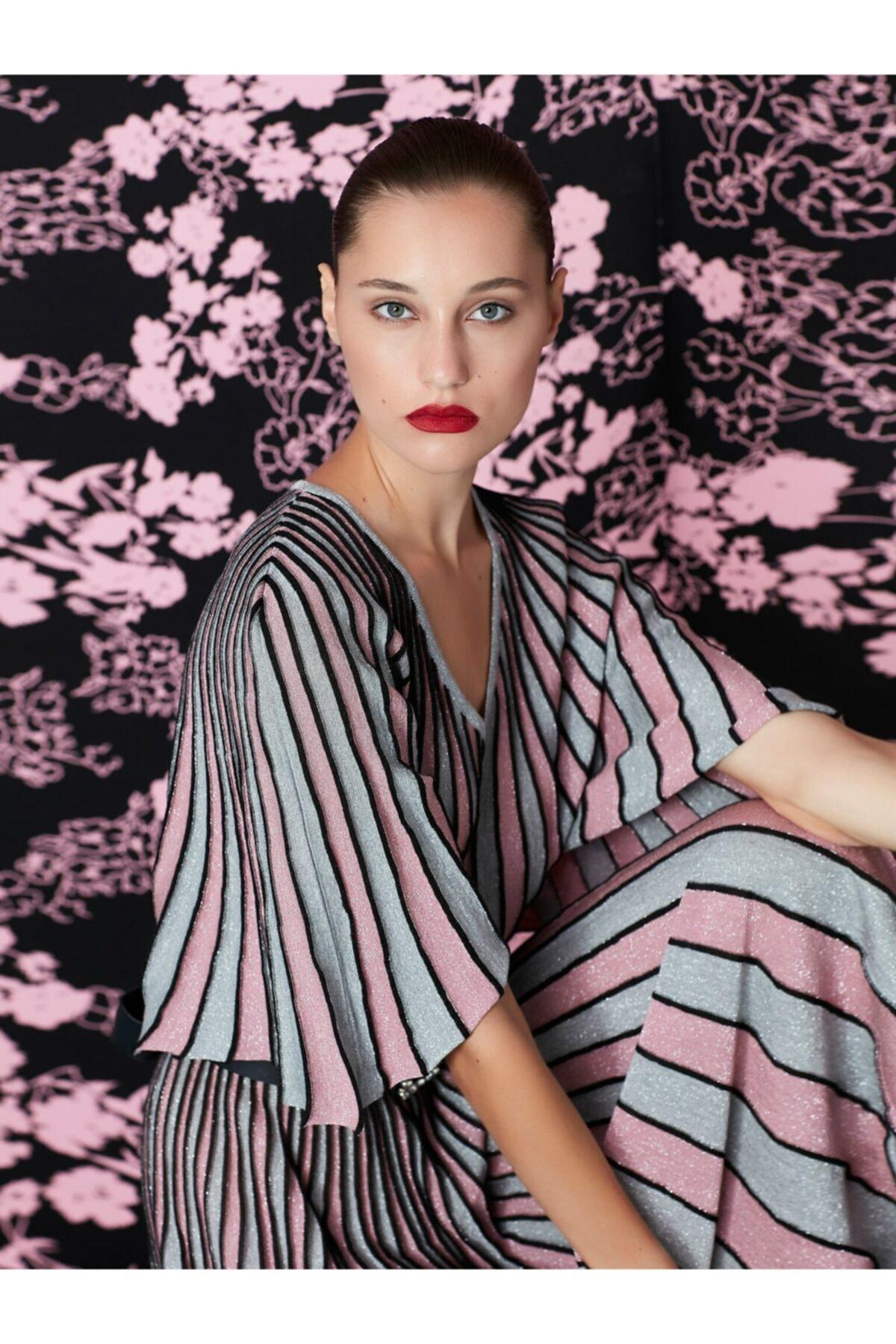 İpekyol Kadın Pembe Simli Örme Pilisole Elbise 2
