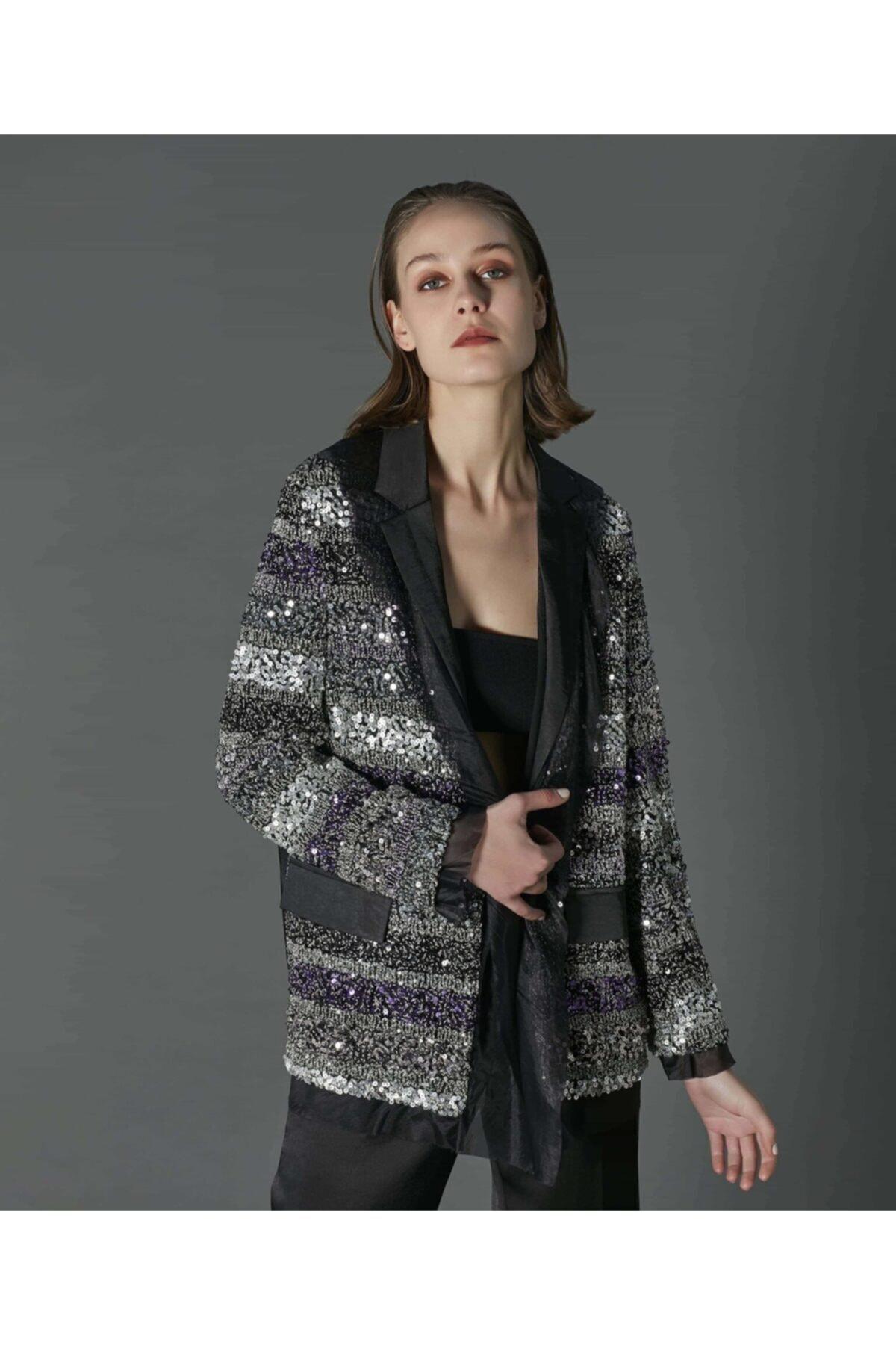 İpekyol Kadın Siyah Payet İşli Saten Ceket 1