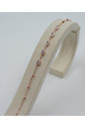 Swarovski Kadın Rose Gümüş Damla Desenli Zirkon Taşlı  Bileklik 925 Ayar