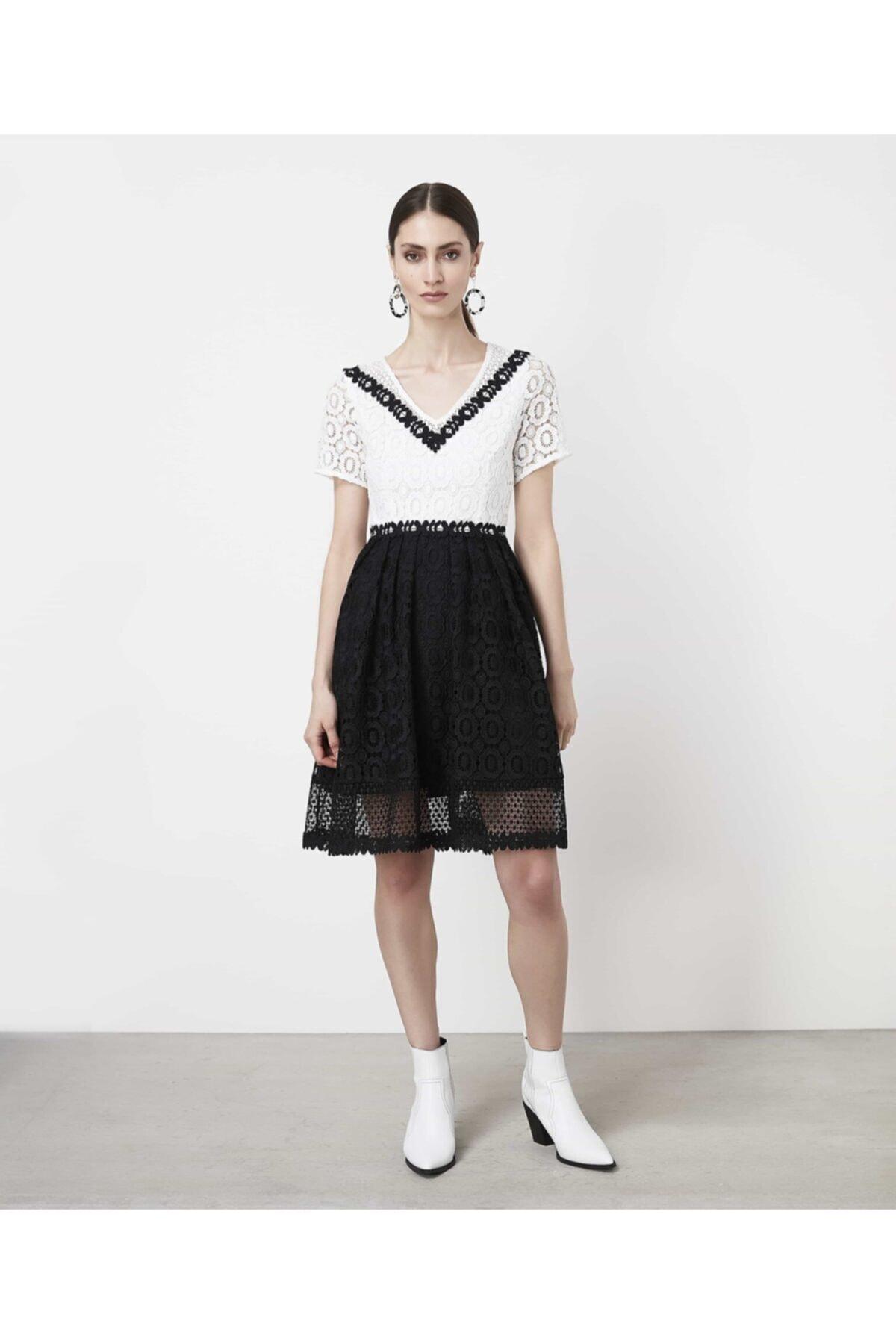 İpekyol Kadın Siyah Color Block Güpür Elbise 1