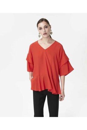 İpekyol Kadın Kırmızı Volanlı Bluz