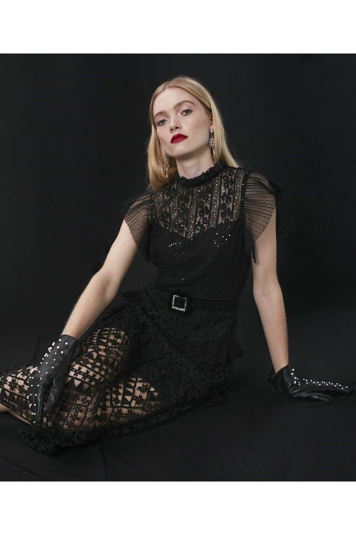 İpekyol Kadın Siyah Transparan Güpür Elbise 2
