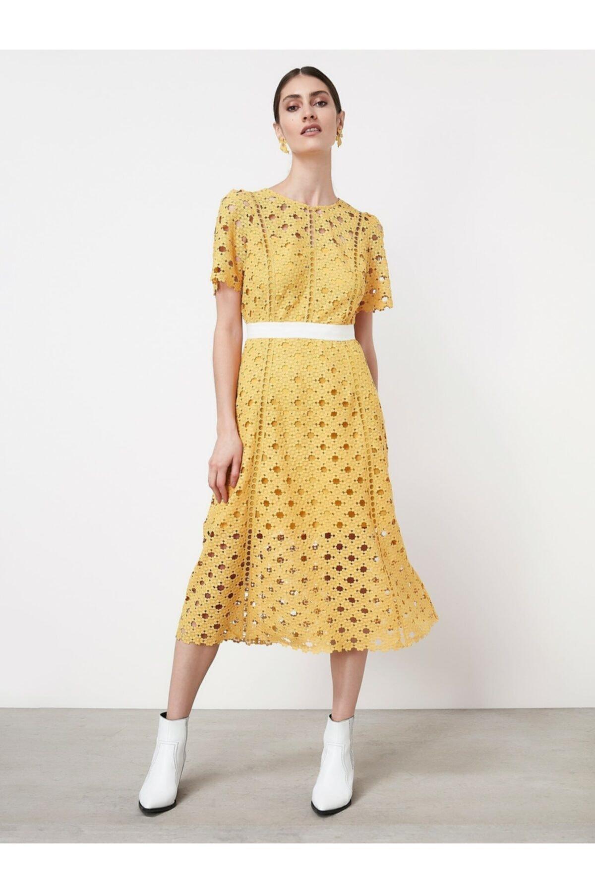 İpekyol Kadın Açık Sarı Güpür Elbise 1