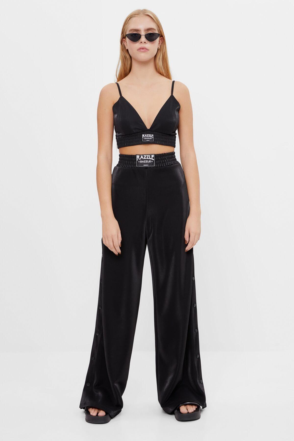 Bershka Kadın Siyah Geniş Paça Metalik Pantolon 1