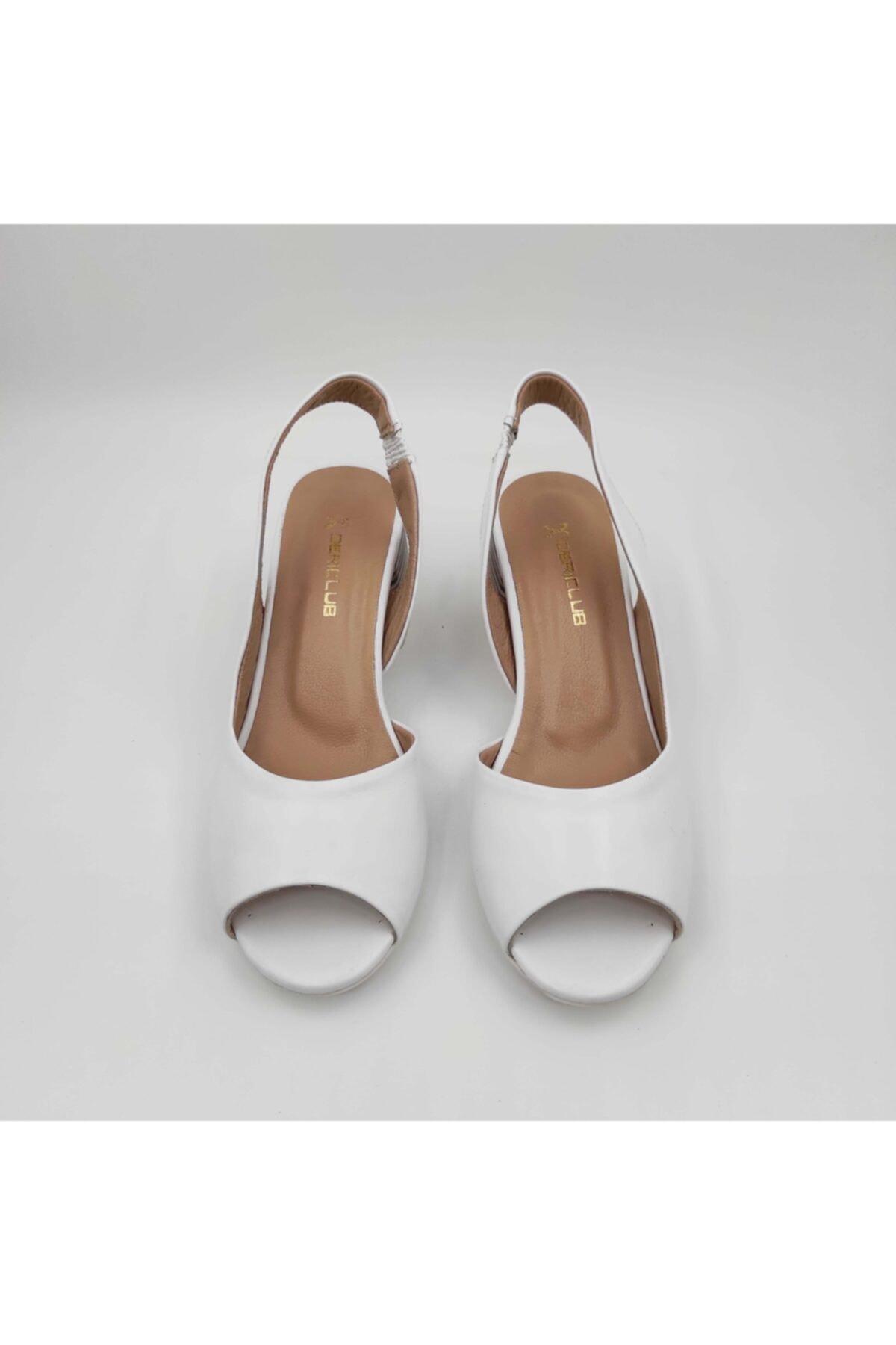 Dericlub Kadın Beyaz Deri Topuklu Ayakkabı 640 2