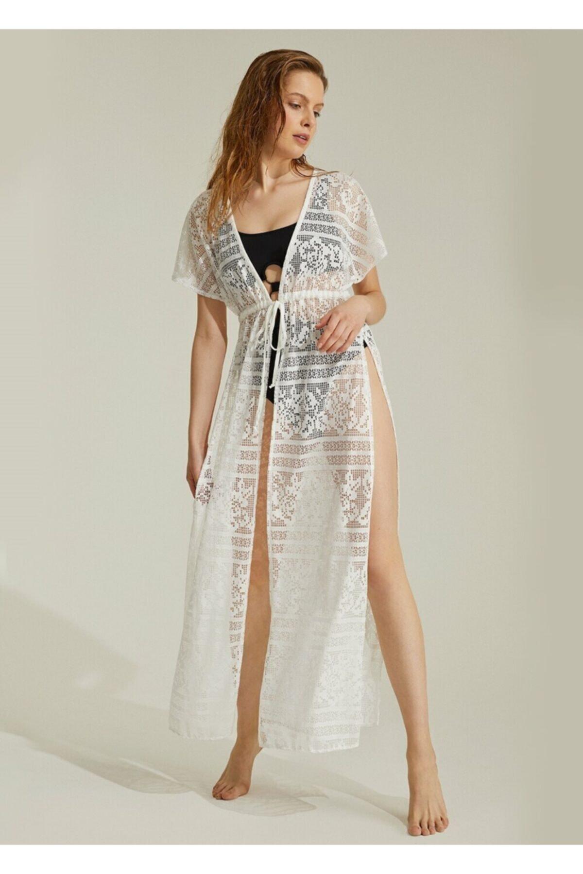 SUWEN Kadın Ekru Sunrise Plaj Elbisesi 1