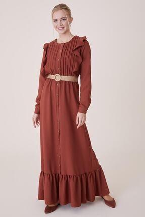 Loreen Kadın Kiremit Fırfırlı Elbise 22139-58