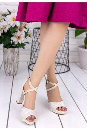 Erbilden Kadın Ekru Brande Sedef Simli Topuklu Ayakkabı