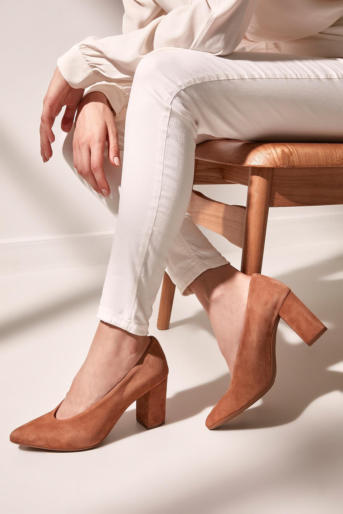 Hotiç Hakiki Deri Taba Kadın Klasik Topuklu Ayakkabı 01AYH154480A370 1