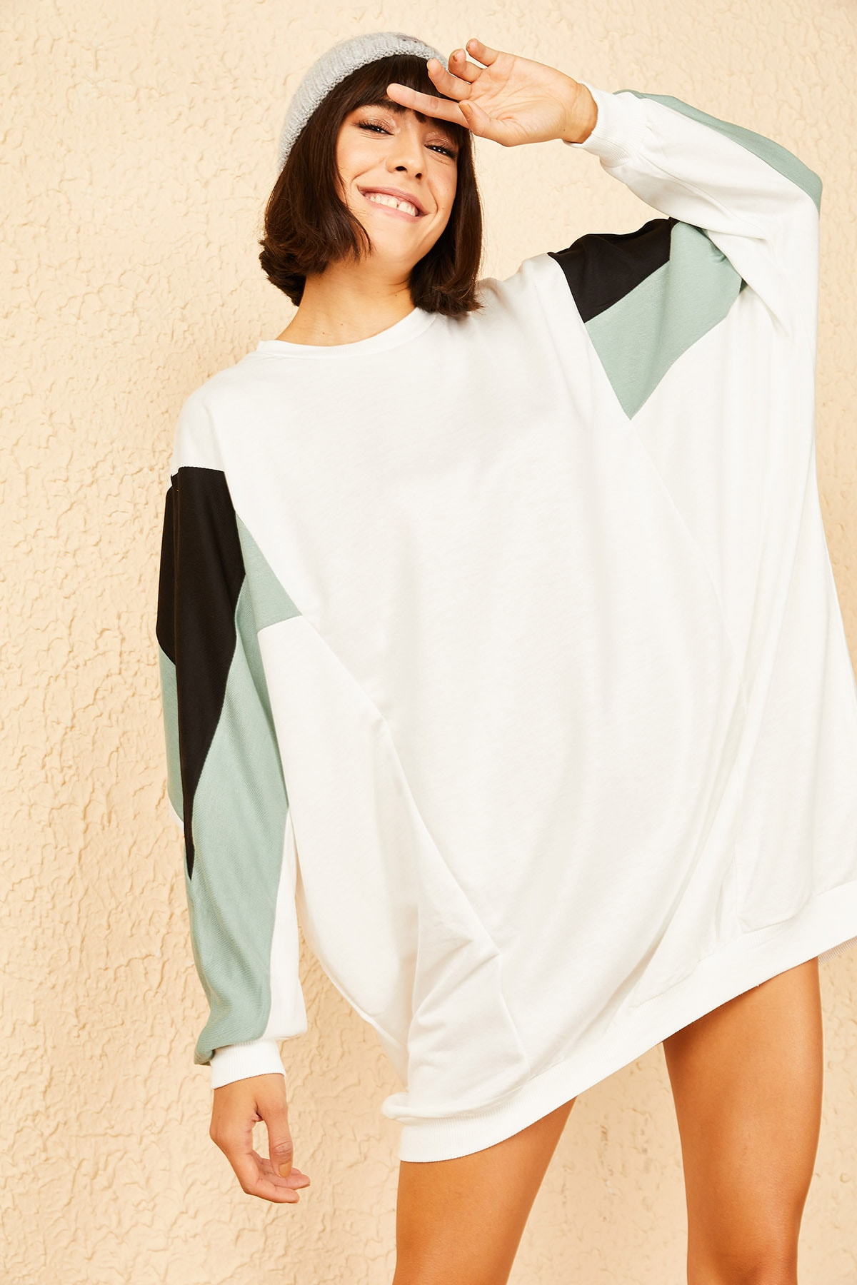Bianco Lucci Kadın Mint Yeşili Kolu Renkli Sweat Elbise 10141009