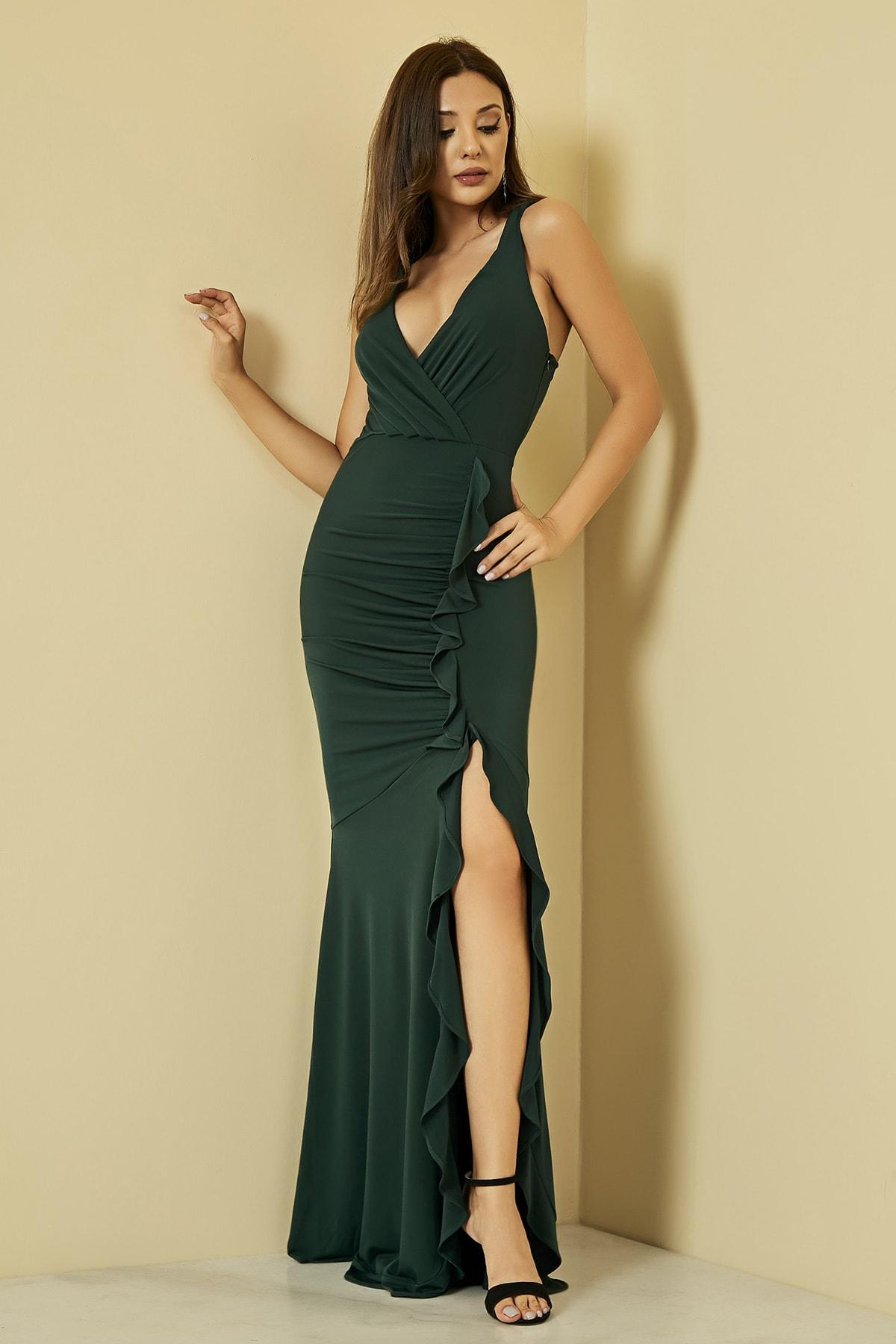 Sateen Kadın Zümrüt Fırfırlı Yırtmaçlı Uzun Abiye Elbise  STN107KEL120