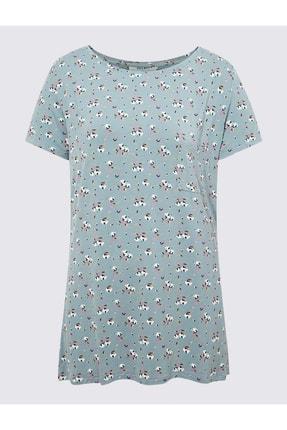 Marks & Spencer Kadın Lacivert Çiçek Desenli Kısa Kollu Pijama Üstü T37003302X
