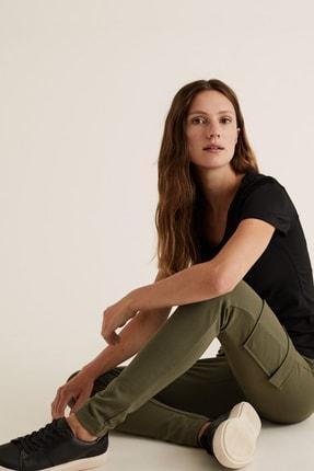 Marks & Spencer Kadın Yeşil Jarse Slim Fit Kargo Pantolon T57008894