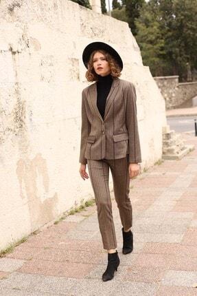 MANGOSTEEN Kadın Kahve Çizgi Ceket Pantolon Takım