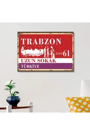 FERMAN HEDİYELİK Trabzon Tabelası Ahşap Retro Poster 17,5x27,5 Cm