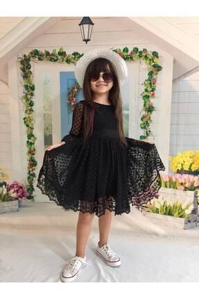 Buse&Eylül Bebe Siyah Şapkalı Tüllü Güpür Detaylı Kız Çocuk Elbisesi