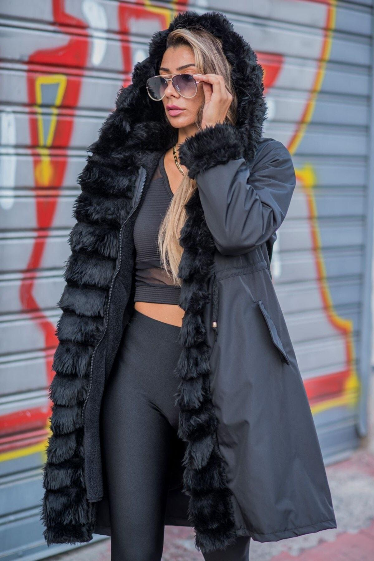 Keyifli Moda Kadın Siyah Su Geçirmez Içi Kürklü Kapüşonlu Kürk Yaka Kaban 1