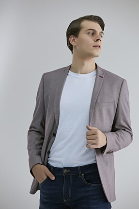 Twn Bordo Renk Erkek  Ceket (Slim Fit)