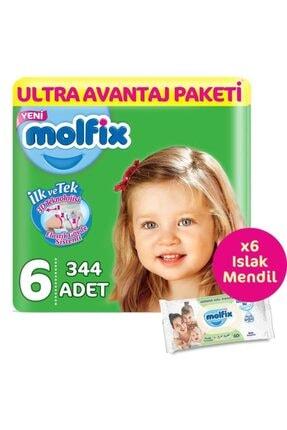Molfix Bebek Bezi 6 Beden Ultra Avantaj Paketi 344 Adet & 6 Paket (360'lı) Islak Mendil