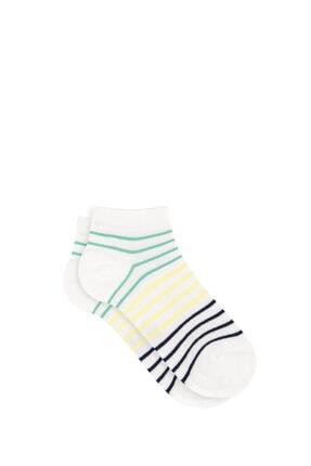 Mavi Kadın Beyaz Çizgili Patik Çorap 196503-27151