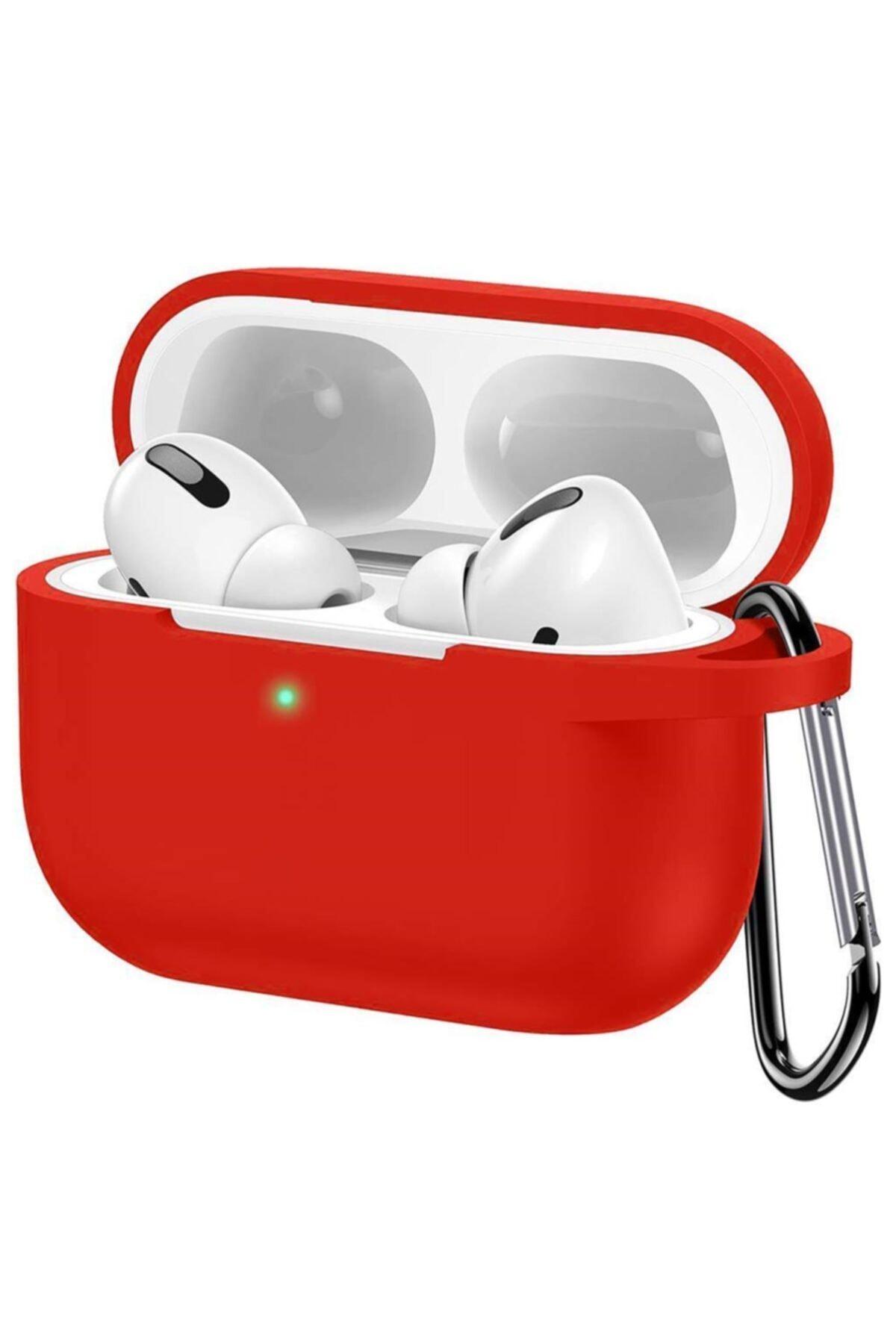 Cimricik Apple Airpods Pro Mat Esnek Silikon 360 Tam Koruma Kırmızı Kılıf 1
