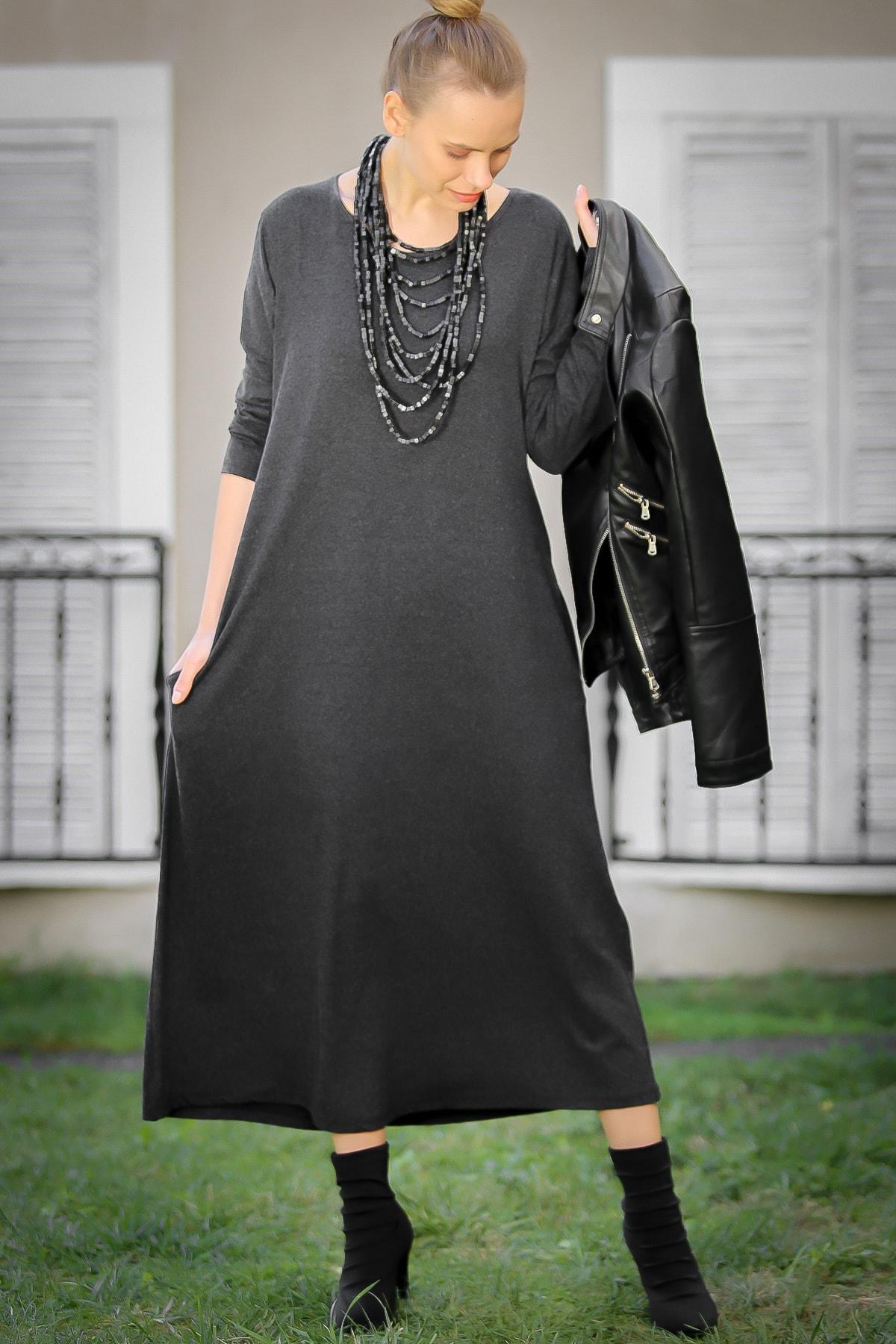 Chiccy Kadın Füme Gizli Cepli Yumoş Elbise C10160000EL97527 1