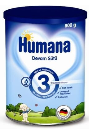 Humana 3 800gr Metal Kutu   10-12 Ay Bebek Devam Sütü