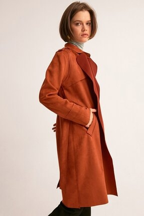 Fulla Moda Kadın Kiremit Kuşaklı Süet Trençkot