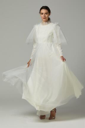 Loreen Kadın Ekru Tül Detay Elbise