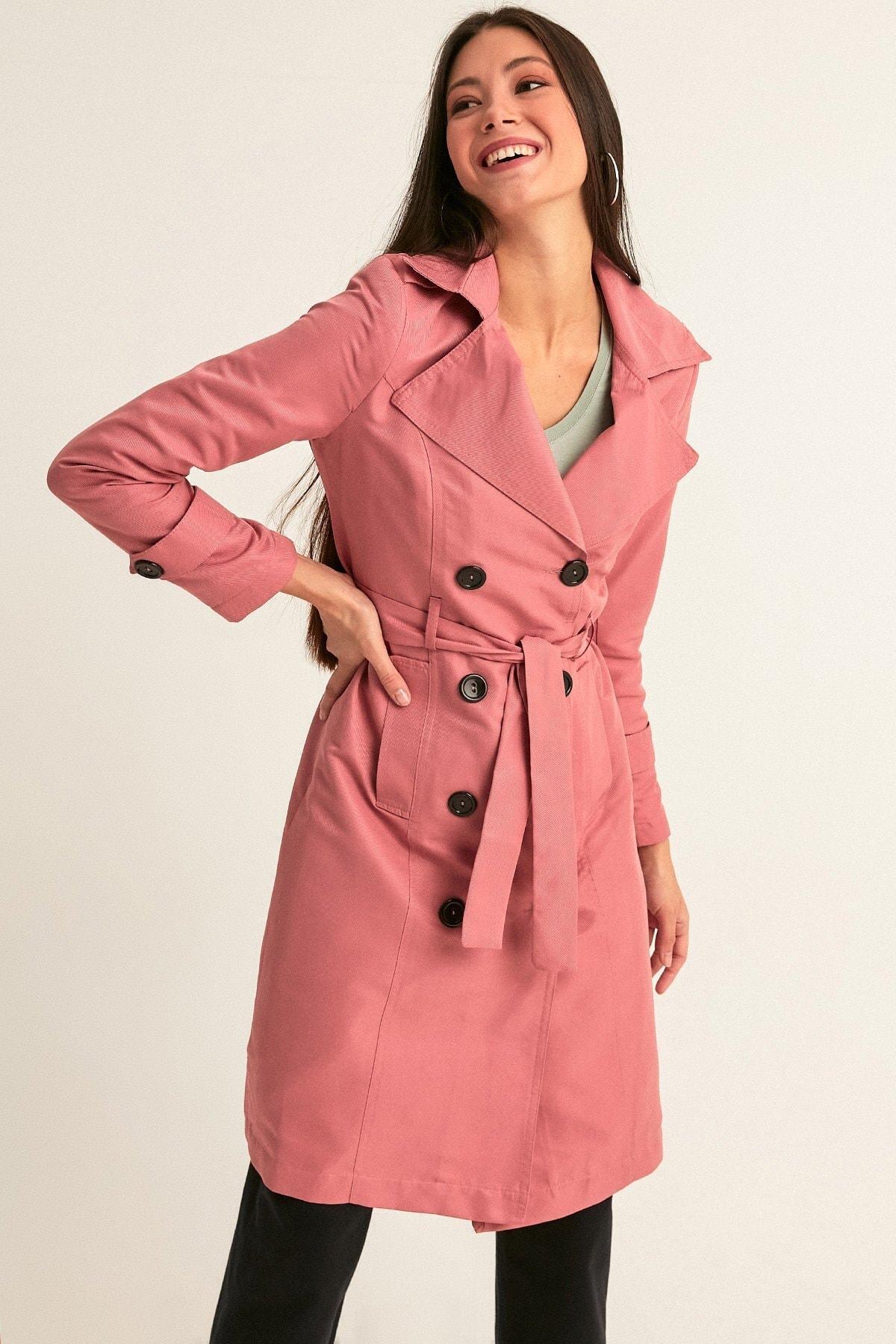 Fulla Moda Kadın Gül Rengi Uzun Basic Trençkot 2