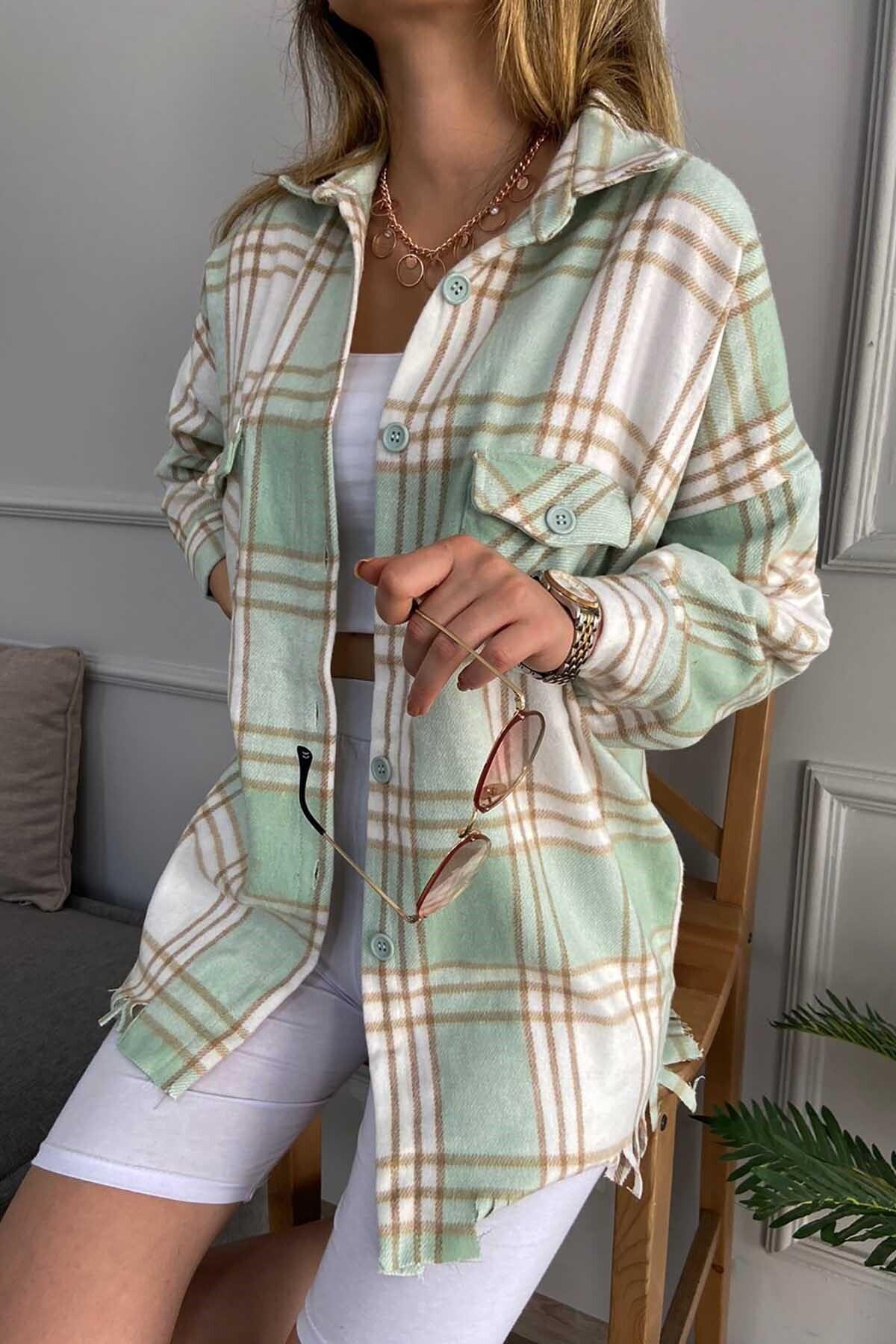 Madmext Kadın Yeşil Mad Girls  Püsküllü  Oduncu Gömlek Mg793 1