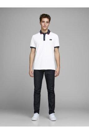 Jack & Jones Erkek Beyaz Polo Yaka Tişört 12167174
