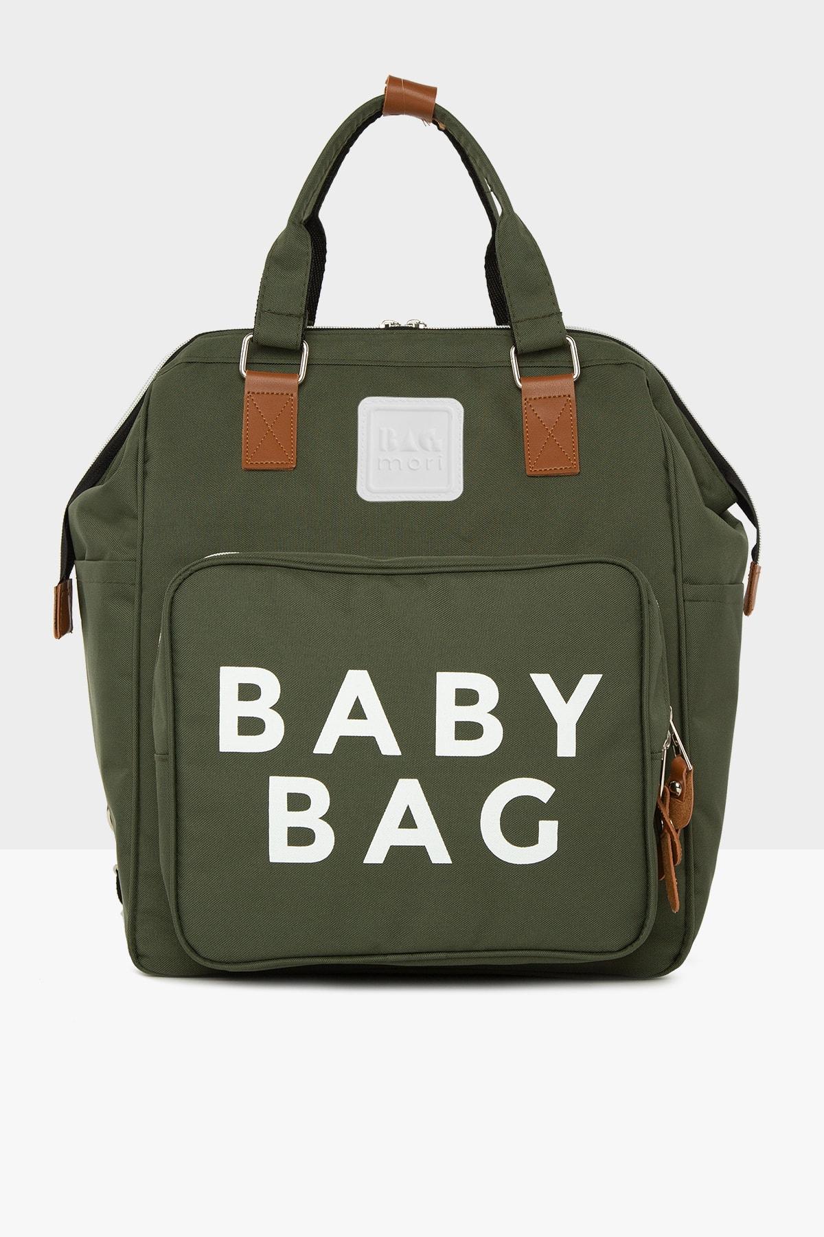 Bagmori Haki Baby Bag Baskılı Cepli Anne Bebek Bakım Sırt Çantası M000005163