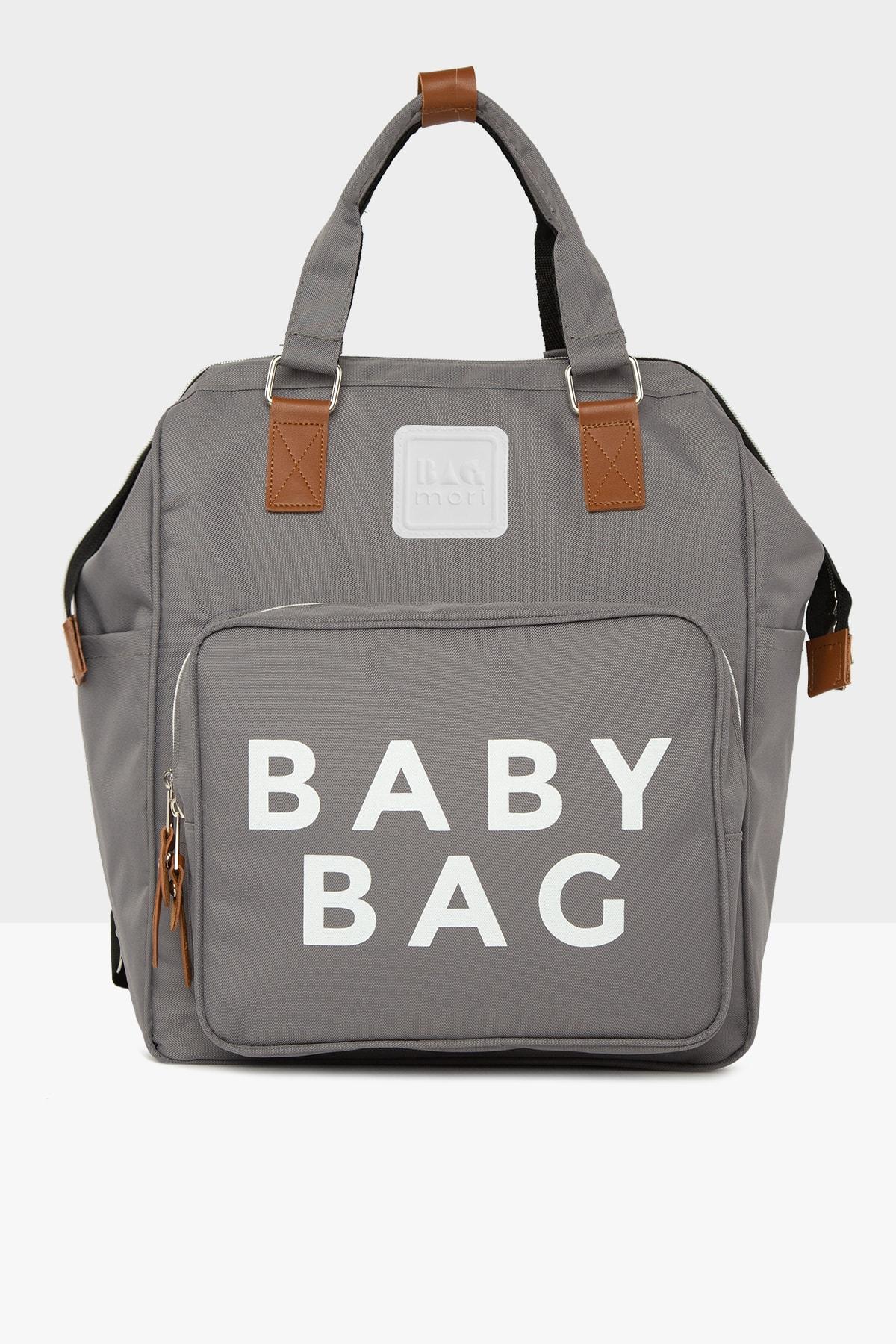Bagmori Gri Baby Bag Baskılı Cepli Anne Bebek Bakım Sırt Çantası M000005163