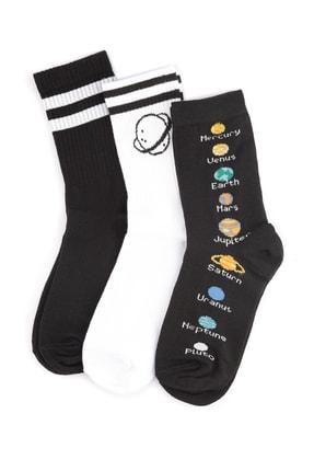 TRENDYOLMİLLA Çok Renkli 3'lü Örme Çorap TWOSS20CO0019