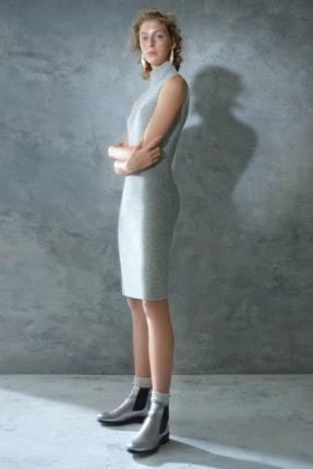 Yargıcı Kadın Gri Melanj Kolsuz Triko Elbise 0KKEL7255X