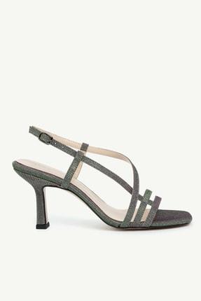 Yargıcı Kadın Yeşil Parlak Çok Bantlı Kumaş Topuklu Ayakkabı 0KKAY4021X