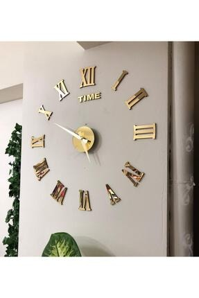stilinbu Metal Göbek Duvar Saati Büyük 3d Romen Rakamlı