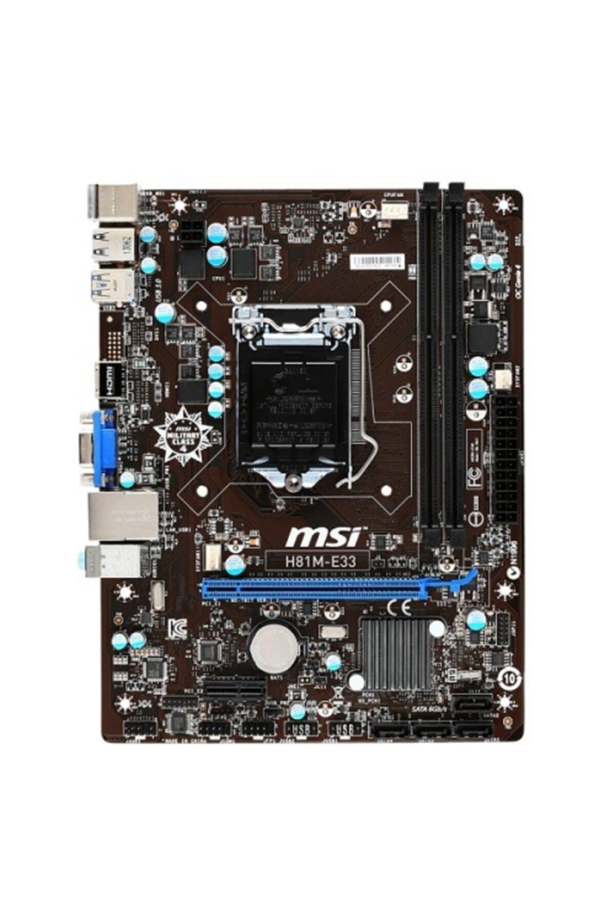 MSI H81m-e33 Ddr3 S+v+gl Dvı 1150p 2
