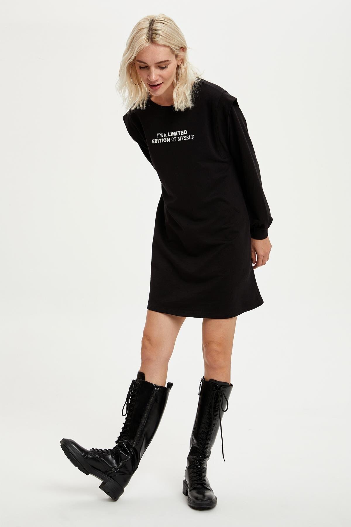 DeFacto Kadın Black Red Slogan Baskılı Tunik Sweatshirt S3637AZ20AU